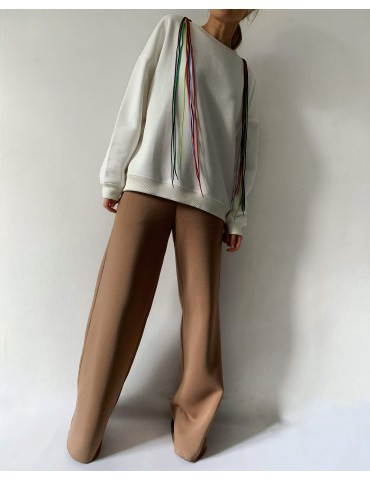 Futer Knit Sweatshirt with Colored Laces
