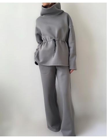 Futer jersey suit with wide leg pants