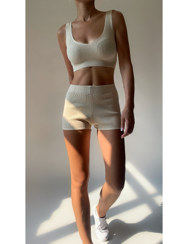 Knitted top and shorts set