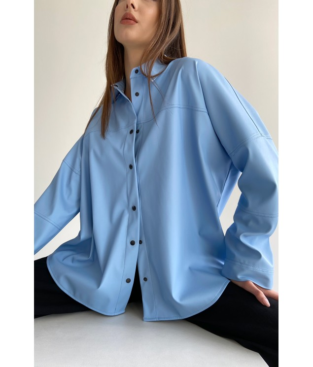 Eco leather shirt with buttons