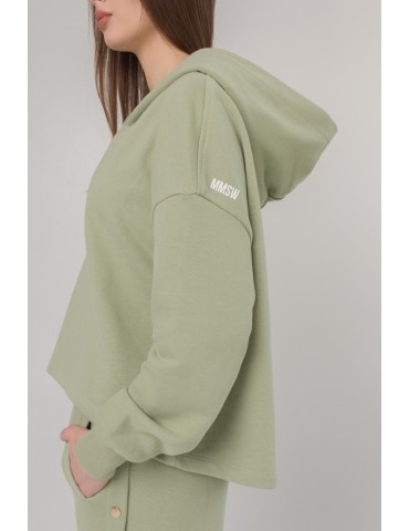 """""""Diagonal"""" jersey hoodie with buttons"""