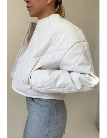Quilted eco leather bomber jacket